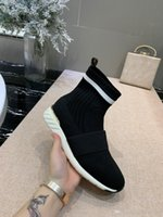 yeni şık spor ayakkabıları toptan satış-new hot 2019 luxury shoes stylish breathable stretch socks shoes casual sneaker flats round toe sports socks boots black white