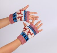 Wholesale computer glove resale online - Christmas deer Warm and Halloween new knitted half finger computer gloves color warm gloves