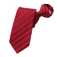 Wholesale zipper ties resale online - Pre tied Neck Tie Mens Skinny Zipper Ties Red Black Blue Striped Slim Narrow Gifts Neckties for Bridegroom Party Dress Wedding