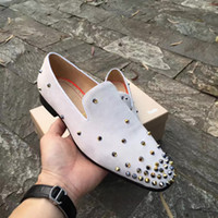 Wholesale mens walk shoes for sale - Group buy Designer Mens Womens Wedding Party Dress Spikes Red Bottom Loafers Shoes Shiny Mocassin Business Casual Oxford Walking Shoes Size