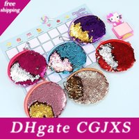 Wholesale headphones plastic bag for sale - Group buy 7 Color Mermaid Sequin Coin Purse Mini Storage Bag Key Ring Purse With Zipper Round Plush Coin Bag For Students Headphone Bag
