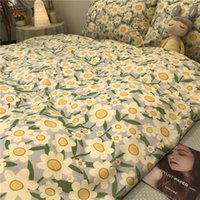 Wholesale red floral sheets bedding resale online - Bedding Sets Nordic Pastoral Style Small Floral Net Red Quilt Cover Bedding Four Piece Bed Sheet Student Dormitory Three Piece S Duvet Cover