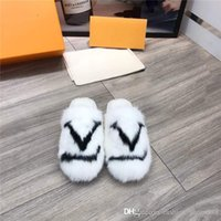 Wholesale soft padded slippers resale online - Classic fashionable exclusive womens mink hair Home Hotel half slippers soft Sheepskin foot pad fur slippers With original box
