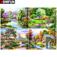 Wholesale houses lake painting for sale - Group buy HOMFUN d Diamond Painting Full Square Round quot Lake house tree quot Picture Of Rhinestone DIY Diamond Embroidery Home Decor