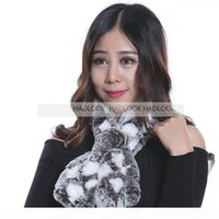 Wholesale real fur wraps scarves for sale - Group buy Women Fur Scarf Rabbit Fur Scarves Colors Genuine Real Natural Scarves Muffler Cape Wraps Warm Winter Shawl Promotion Quality