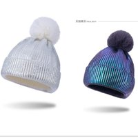 Wholesale cloche hat for sale - Group buy 2020 Winter Warm Pom Beanies Gold Blocking Knit with Pom Ball Hat Women Men Trendy Outdoor Sports Tuque Crochet Caps OOA9151
