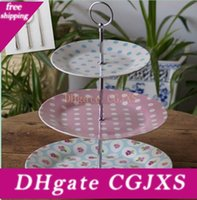 Wholesale fruit chinese for sale - Group buy 3 Tiers Round Style Cake Stand Rods Ceramic Fruit Tray Metal Handles Multi Color Excluding Plate Home Decor