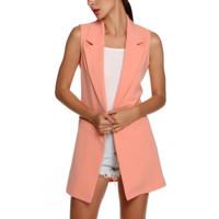 2020 Fashion Sleeveless Turn Down Collar Vest For Womem Slim Elegant Long Vest Cardigan Commuter Casual Blazer Women's