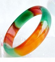Wholesale jade bangle bracelet resale online - GENUINE Asia Red Green Natural Jade Bangle Bracelet Inside mm mm