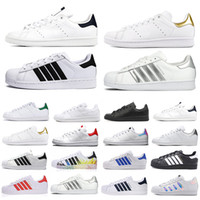 ingrosso super scarpe-adidas Stan smith taglia 36-45 Superstar originale Ologramma bianco Iridescent Junior Superstars Scarpe casual Super Star Donna Uomo Donna Pelle moda scarpe