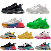 zapatos arco iris  al por mayor-Paris 17FW balenciaga triple s clear sole Hombres Mujeres Zapatos casuales Triple S Zapatillas Negro Blanco Verde Arco iris Deportes Old Dad Shoe