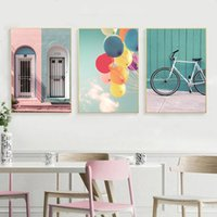 Wholesale balloon spray resale online - Nordic Style Poster Wall Art Canvas Painting Bike And Balloon Pink Romantic Building Home Art Picture Modern Living Room Decor