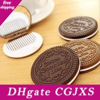 Wholesale unique cosmetics makeup resale online - Fashion Chocolate Cookies Mirror Makeup Mirrors With Comb Unique Cheap Sandwich Cooke Compact Mirrors Women Makeup Accessories Tools