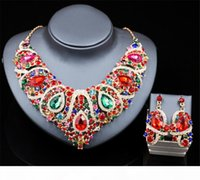Wholesale dark blue bridal jewelry for sale - Group buy Artificial Jewelry Necklace Earrings Set Wedding Bridal Crystal Rhinestone Pendant Necklace Blue Green Red Party Prom Gold Jewelry