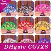 Wholesale new flower frame resale online - New Rose Flower Design Plastic Frame Lace Silk Hand Fan Chinese Craft Folding Fan For Wedding Party Favor Free Ship