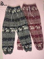 Wholesale elephants pants resale online - Folk Elephant Thailand Elastic Drawstring Waistband Straight Wide Leg Bloomers Pants Tracksuit Trouser Pantalon Deporte Ioga