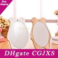 Wholesale white wood framed mirror for sale - Group buy Wooden Desktop Bear Cartoon Dressing Mirror White Brown Princess Creative Portable Mirrors Students Lovers Hot Sale Gift sjd1