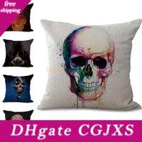 Wholesale custom pillow designs resale online - Death Skull Pillow Case Cushion Cover New Design Linen Cotton Throw Square Pillow Covers Colors Custom Free x45cm g