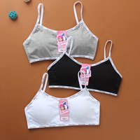 Wholesale bra kids girls resale online - 2020 Girls Padded Training Bra Teenage Kids Soft Breathable Cotton Underwear Tops Clothing Wireless Bra Tops Girls Sports