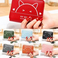 Wholesale cute simple wallets for sale - Group buy Wallet women s short Cat wallet zipper year new zipper coin purse female student cute cat print simple hipster