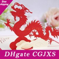 Wholesale 3d chinese cards resale online - 100mm mm d Chinese Dragon Best Wishes Happy Greeting Cards Christmas Card New Year Greeting Card Diy Gift Za4986
