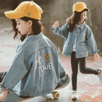 Wholesale girls jackets embroidered for sale - Group buy girls denim jacket years old kids denim coat spring and autumn Embroidered letters jacket girl coats kids Fashion casual