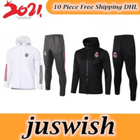Wholesale red pants suits for sale - Group buy 2020 Real Madrid Ajax Bayern Windbreaker With Pants Soccer Tracksuit Hooded Jacket Ajax Red Football Windbreaker Training SUIT