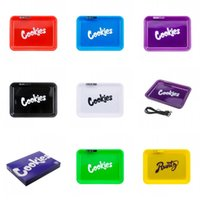 Wholesale smoke electric for sale - Group buy Cookies Runtz Backwoods Led Glow Tray Rechargeable Square Usb Lighter Pop Smoke Box Rolling Trays Smoking Pipe Blunt Holders Case jr C2