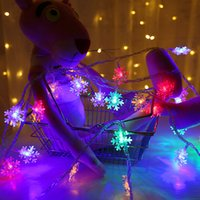 Wholesale battery string lights white resale online - 6M LED Snowflake String Lights Snow Fairy Garland Decoration For Christmas Tree Happy New Year Fairy Battery Powered Light
