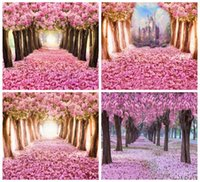 bäume rosa blüten groihandel-Laeacco Pink Blossom Flowers Tree Petal Way Love Romantic Child Portrait Photo Backdrops Backgrounds Photocall Photo Studio