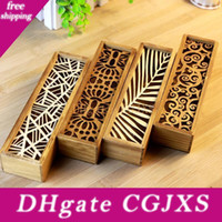 Wholesale wooden pen pencil box resale online - Fashion Vintage Style Convenient Hollow Wood Pencil Case Jewelry Storage Box Wooden Organizer Drawer Pen Holder School Gift Lx8907