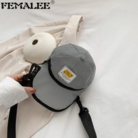 Wholesale hat shaped bag resale online - Personality Korean Hat Shape Shoulder Bag Creative Reflective Nylon Crossbody Bag Female New Trendy Small Phone Purses Handbag