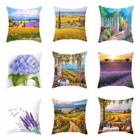 Wholesale plants bedding for sale - Group buy Soft Comfortable Household Pillowcase Plants Beautiful Lavender Sofa Chair Cushion Cover Decorative Living Room Bed Pillow Cover VT1503