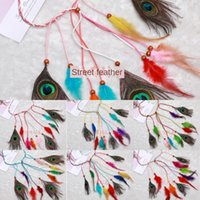 Wholesale gypsy fashion style resale online - Bohemian peacock feather Gypsy style ethnic headdress National headband hair fashion feather band hair rope T5z5D