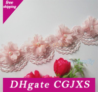 Wholesale lace edging ribbon for sale - Group buy New Design x Pink Pearl Chiffon Flower Embroidered Lace Edge Trim Ribbon Floral Applique Fabric Handmade Wedding Dress Sewing Craft