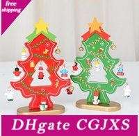 Wholesale mini christmas bells resale online - 60set cm Wooden Christmas Tree With Hanging Decorations Bells Diy Christmas Tree Table Mini Ornament Sn442