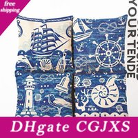 Wholesale sea home decor for sale - Group buy Blue Mediterranean Sea Pillow Case Conch Sailing Pattern Flax Pillowcases Home Bedroom Decor Sofa Cushions Cover