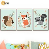 Wholesale cartoon canvas wall decor resale online - Cartoon Fox Squirrel Nuts Raccoon Flower Wall Art Canvas Painting Nordic Posters And Prints Wall Pictures Baby Kids Room Decor