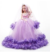 Discount baby clothing gift sets 40cm Wedding Dress Barbie Doll Princess Evening Party Clothes Colorful Wears Long Dress Outfit Set Accessories Kids Girl Birthday Gift