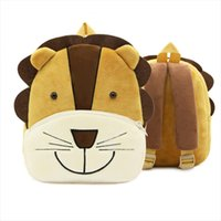 aslan sırt çantaları toptan satış-Fashion Kid Cartoon Cute Shoulder School Bag Plush Backpack for Children Baby Girls Boys Lovely Small bookbags Lion Backpacks