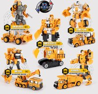 Wholesale 2020 kids toys Alloy transformer robot diamond engineering vehicle model types ABS popular cool gifts for children for fun