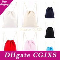 Wholesale canvas clothing sale resale online - 14 Colors Canvas Drawstring Backpack Canvas Rope Pulling Storage Bags Blank Drawstring Bag Factory Direct Sale x42cm