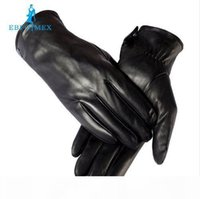Wholesale warm mens gloves for sale - Group buy warm winter mens gloves Genuine Leather Black leather gloves male leather gloves winter gloves men