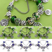 Wholesale large tree life painting for sale - Group buy Tree of Life green thousand faced Crystal large Hole Beaded bracelet hole beaded painted leaf flower bracelet bracelet HyeuA
