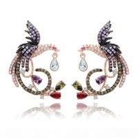 Wholesale chinese gold plated earring resale online - luxury Designer Zircon Drop Earrings Chinese Phoenix Fine Jewelry Wedding Dangle Earrings for Women Gril Gift