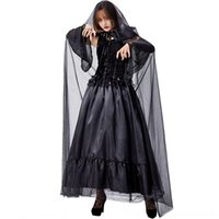 Wholesale vampire leather for sale - Group buy TiHt9 witch costume vampire party Cloak clothing Castle tulle long cloak skirt dark skirt clothing Queen Palace Panderon