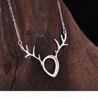 Wholesale pendant necklace mountings resale online - 925 Sterling Silver Women Pendant Necklace x13mm Pear Cabochon Semi Mount Pendant Antlers Shape Setting