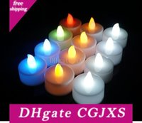Wholesale candle flame lights for sale - Group buy Led Candle Tea Light Flameless Tealight Colorful Flame Flashing Candle Lamp Wedding Birthday Party Christmas Light Decoration