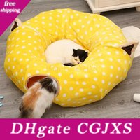 Wholesale creative bed for sale - Group buy Cute Tunnel Cat Beds Pet Supplies Washable Roll Cat Sleeping Bag Cat Toys Creative Two Way Folding Tunnel Pet Bed House
