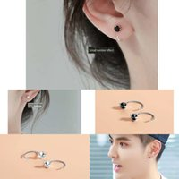 Wholesale black male earring resale online - s925 sterling silver small fe cold style couple male female ear studs black and white fashion C shaped earring and earrings hook earrings e